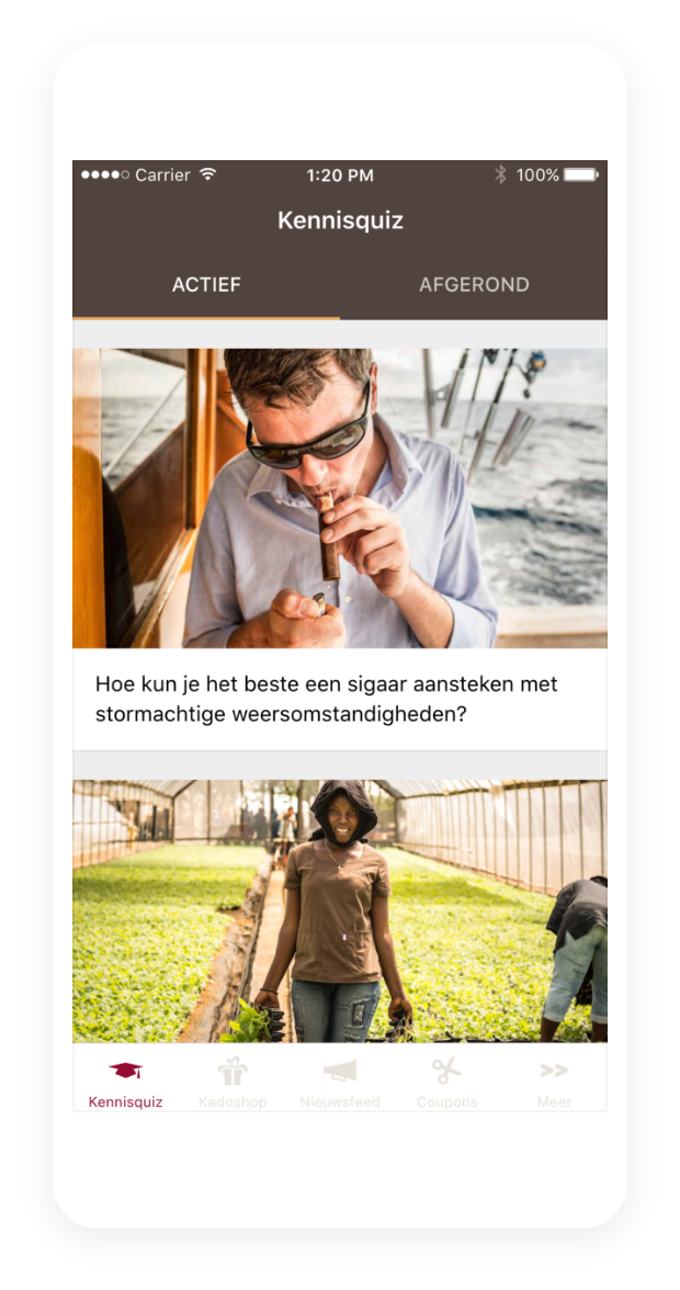 Kennisquiz in de Sigar Hero app