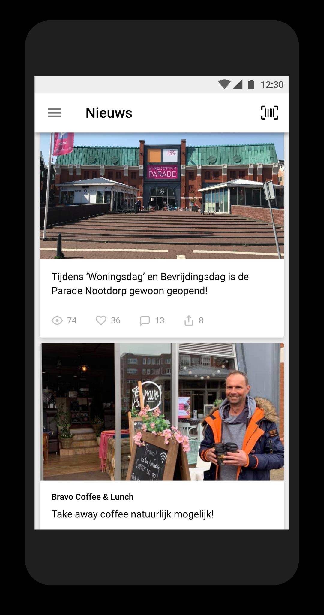 Nieuwsfeed in de Sterrenburg app